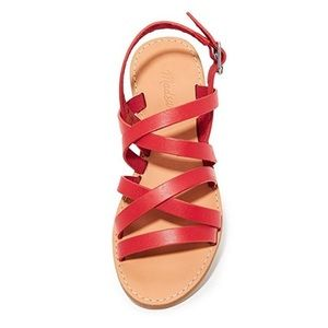 Madewell red leather boardwalk sandals